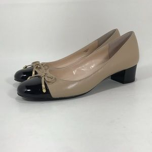 "Tahari Maisy Leather Pumps 1.5"" Block Heel Cap Toe"